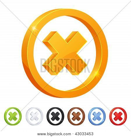 Set of 7 X mark symbol in different colors.