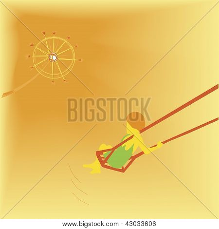 Child on Swing - Vector