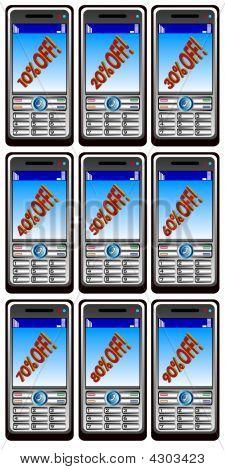 Neun Mobiltelefone