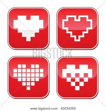 Pixel heart love vector buttons set
