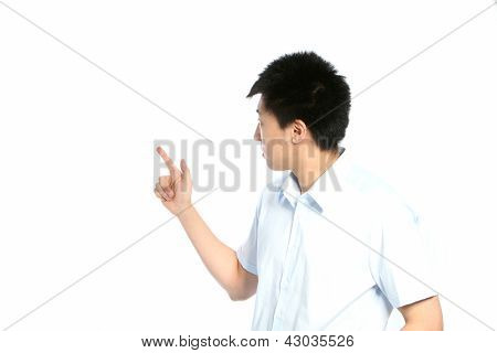 Asian Man Pointing Behind Him