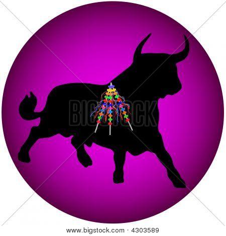 schwarzen Stier mit banderillas