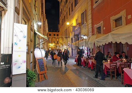 Night On Rome Streets