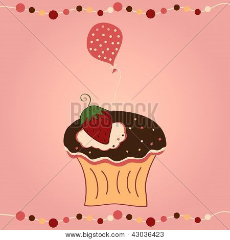 Cupcake With Strawberry And Balloon