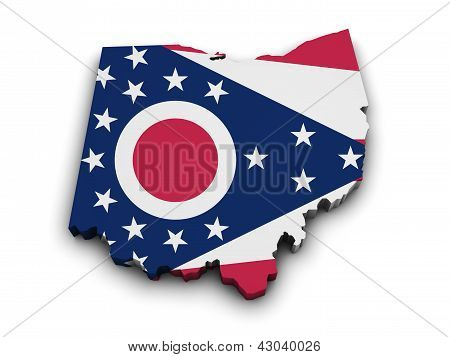 Ohio Flag Map Shape