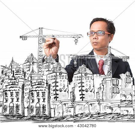 Man Drawing Modern Building Construction