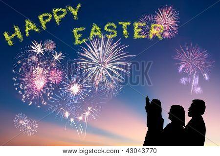 Family Looks Happy Easter Fireworks