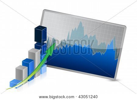 Business Graph With Stocks Showing Profits