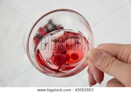 Red Drink From Mixed Berries