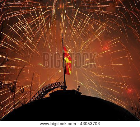Fireworks of Macedonian flag