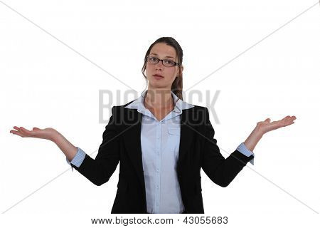 Businesswoman holding her hands out