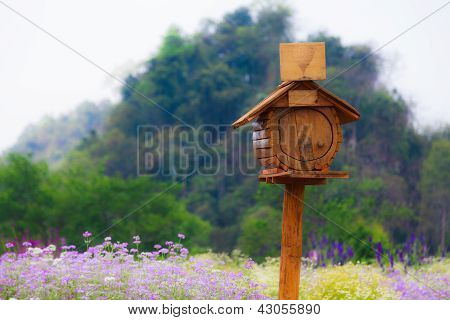 A Small Mailbox In The Flower Field