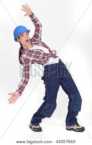 craftswoman slipping
