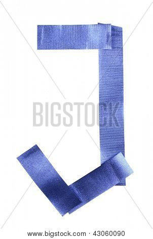 Color photograph of alphabet of blue tape