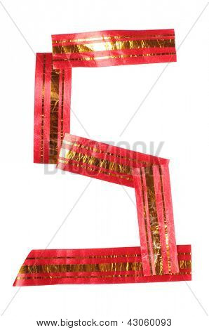Color photograph of alphabet of red and yellow tape