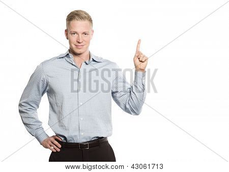 Joyous confident business person pointing finger up at empty space for text or advertising, isolated on white background.