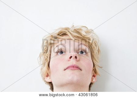 Blond Girl Looking Up