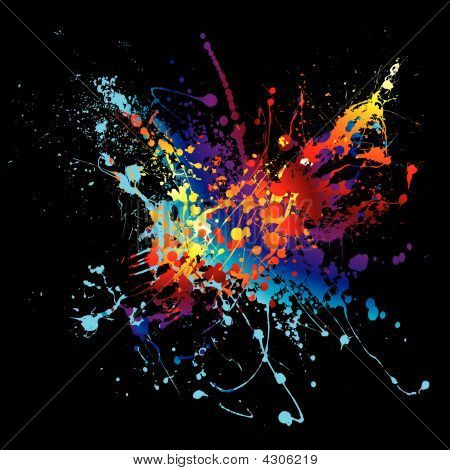 Ink Splatter Rainbow Black