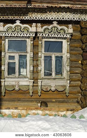 Russian Rustic Wooden House Of The Late 19Th Century - A Fragment