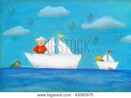 Young boy sailing, child's drawing, oil painting on canvas