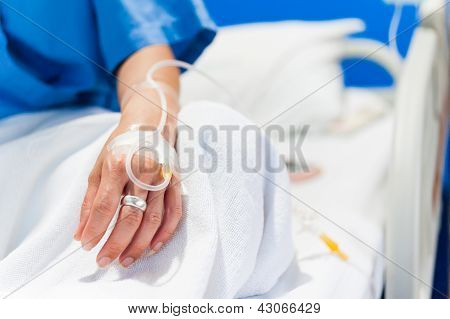 Iv Drip In Woman Hand