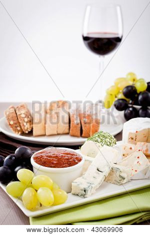 Cheese Plate With Grapes And Wine Dinner