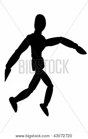 Wooden model silhouette  isolated on white background.
