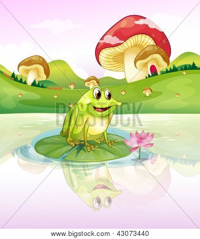 Illustration of a frog above a waterlily