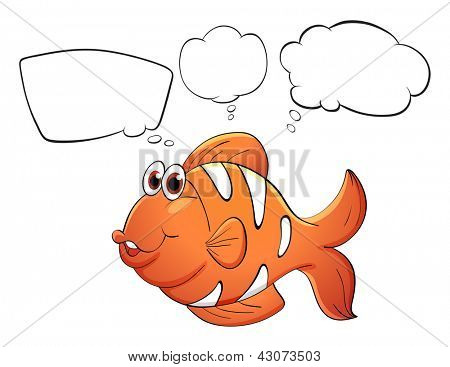 Illustration of an orange fish with empty bubbles notes on a white background