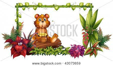 Abbildung eines Bären über einem Baumstamm im Garten auf einem weißen Hintergrund