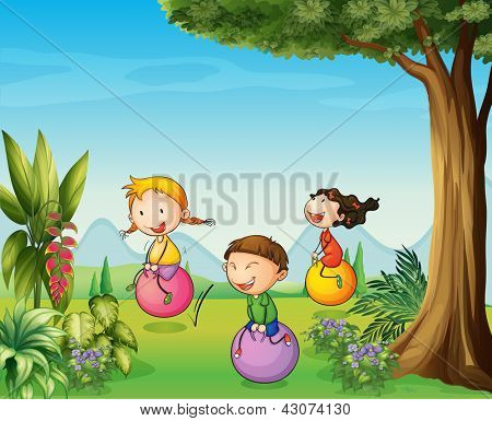 Illustration of three kids having fun with a bouncing ball