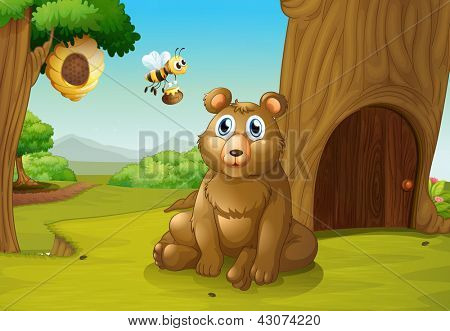 Illustration of a bear and a bee near a treehouse
