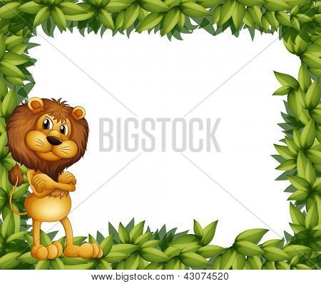 Illsutration of a lion at the left side of a leafy frame