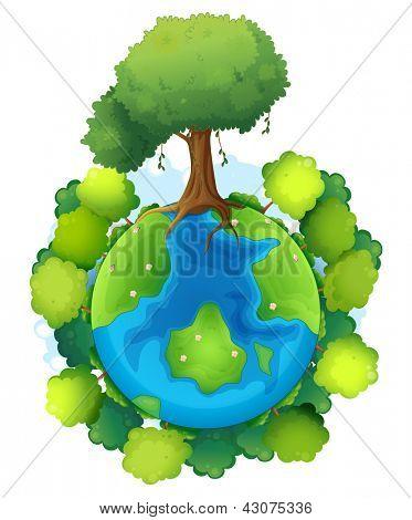Ilustração da terra mãe sobre um fundo branco
