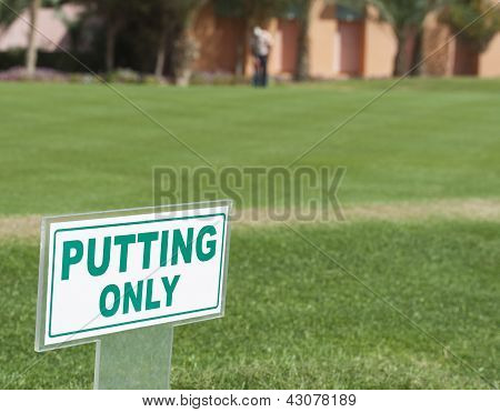 Sign On A Putting Range