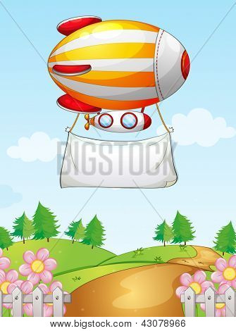 Illustration of a blimp with a banner