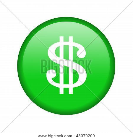 Glossy icon with a dollar sign
