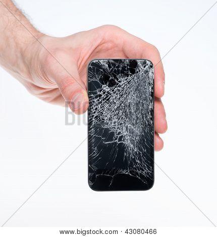 Mann, hält defekte smartphone