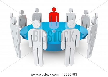 Persons With Leader Around Table
