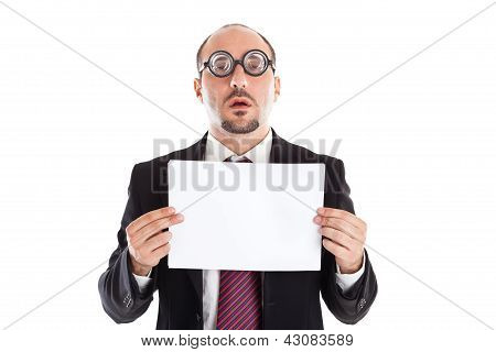 Poor Sight Businessman Showing A Sheet