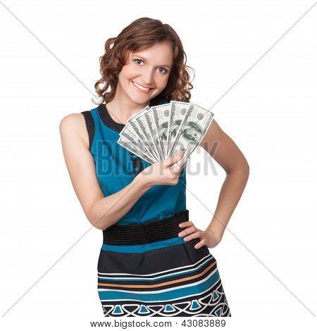 Porträt hübsche junge Frau hält ein Fan von Dollarnoten