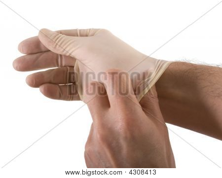 Putting On Surgical Glove