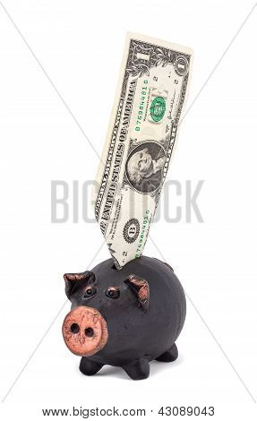 One Dollar And Piggy Bank