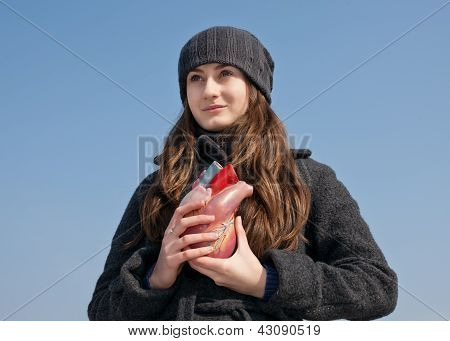 Young Woman With A Heart