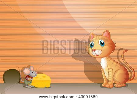 Illustration of a cat and a rat