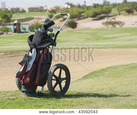 Golf Caddy Trolley On Fairway