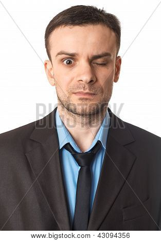 Winking Businessman Portrait