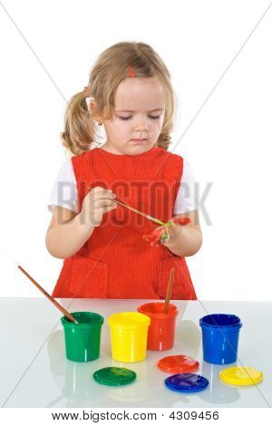Serious Girl With Painting Kit
