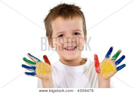Happy Boys With Painted Hands