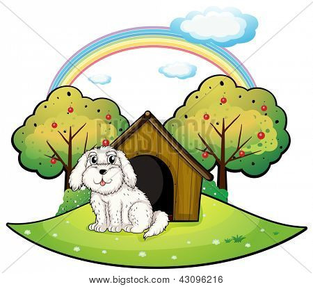 Illustration of a puppy near an apple tree on a white background